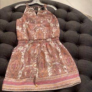 Pink + Cream Paisley Print Summer Dress